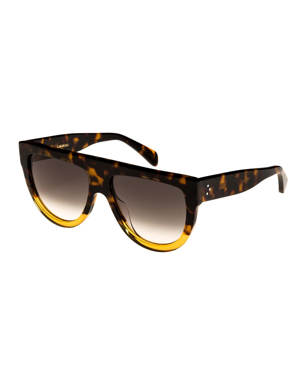 ce76dcd322 Lyst - Céline Flattop Two-tone Shield Universal-fit Sunglasses in Brown