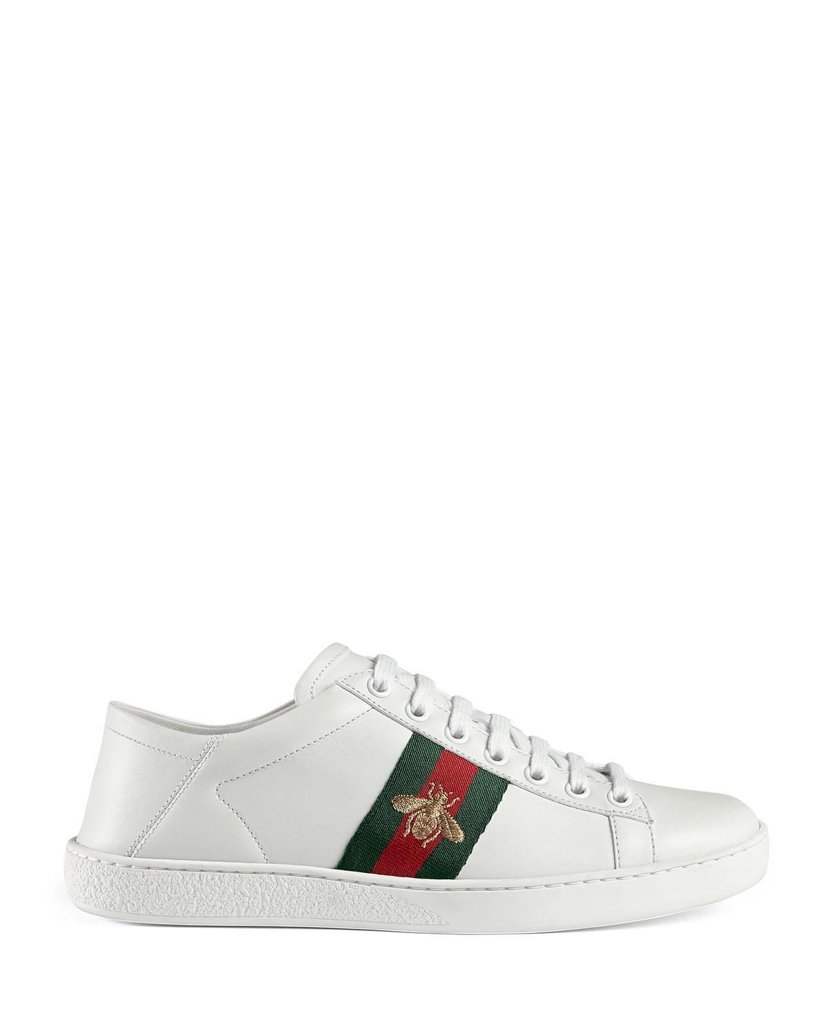 a94cddbee4c Lyst - Gucci Bee Web Sneakers in White