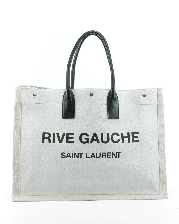 a80db599139e Saint Laurent - Natural Noe Cabas Large Rive Gauche Canvas Tote Bag - Lyst.  View fullscreen