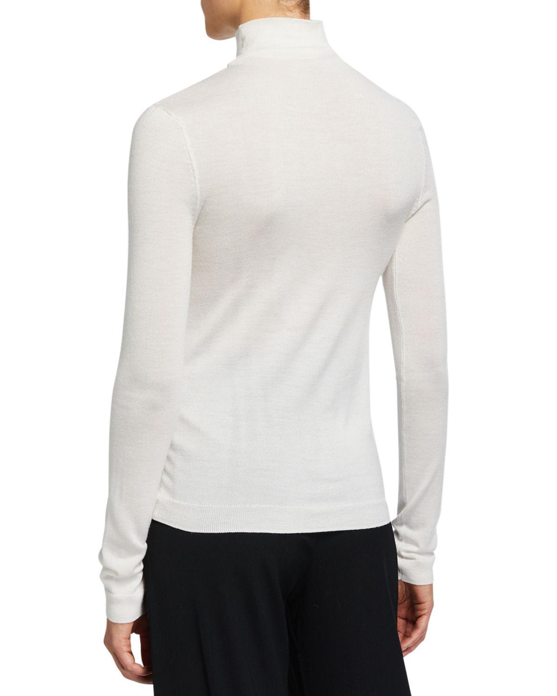 Vince Shrunken Merino Wool Silk Turtleneck Sweater In White Lyst