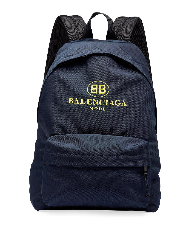 43bb4b4f77 Lyst - Balenciaga Men s Double-b Logo Backpack in Blue for Men
