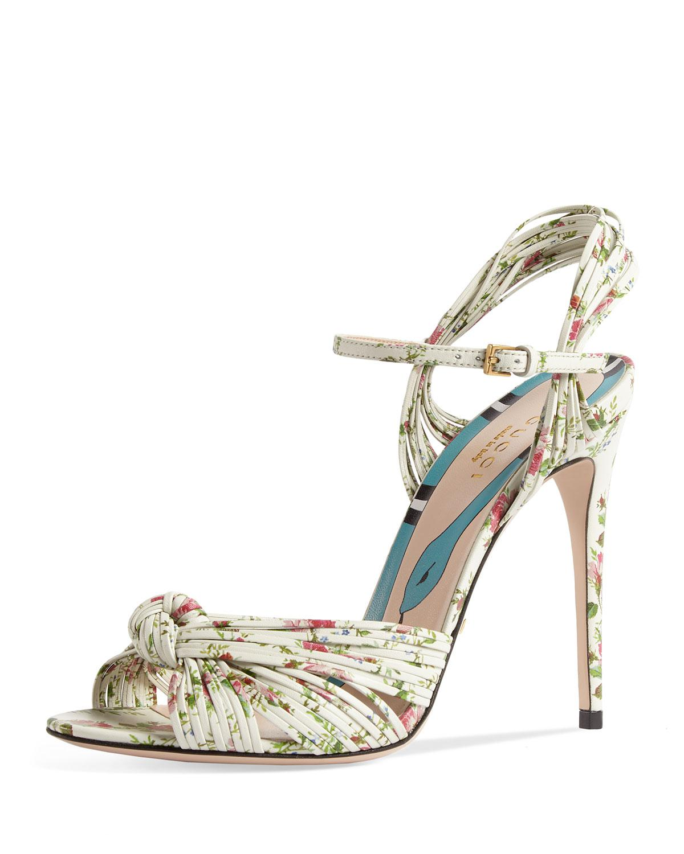 da78cab920c2 Lyst - Gucci Allie Floral-print Leather Sandals in White