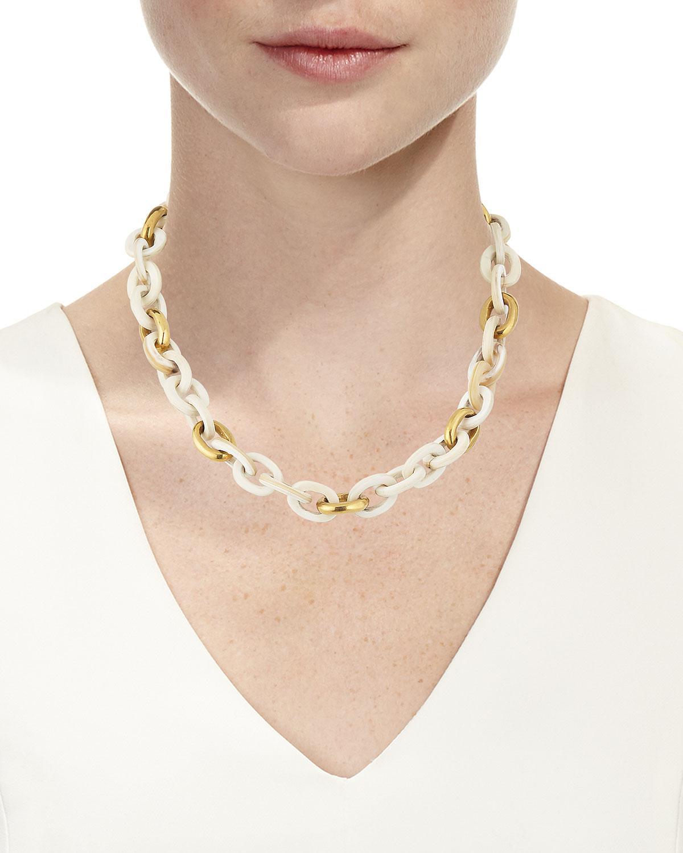 Ashley Pittman Meli Short Collar Necklace in Light Horn IW9o1HGkbo