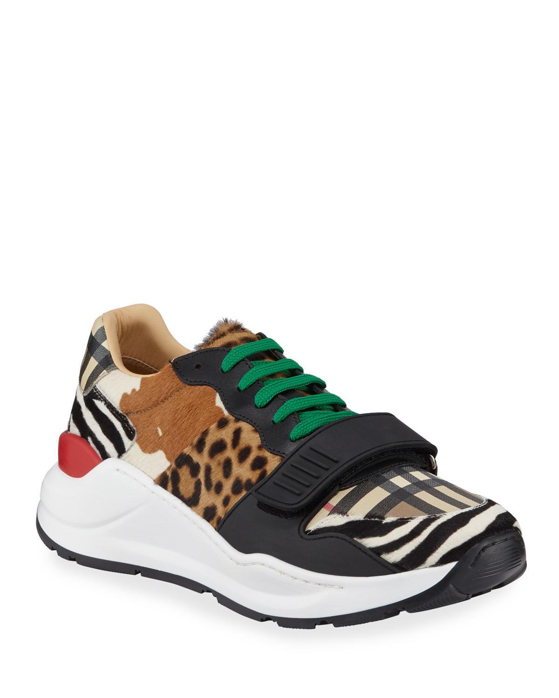 Mixed Animal-print Sneakers