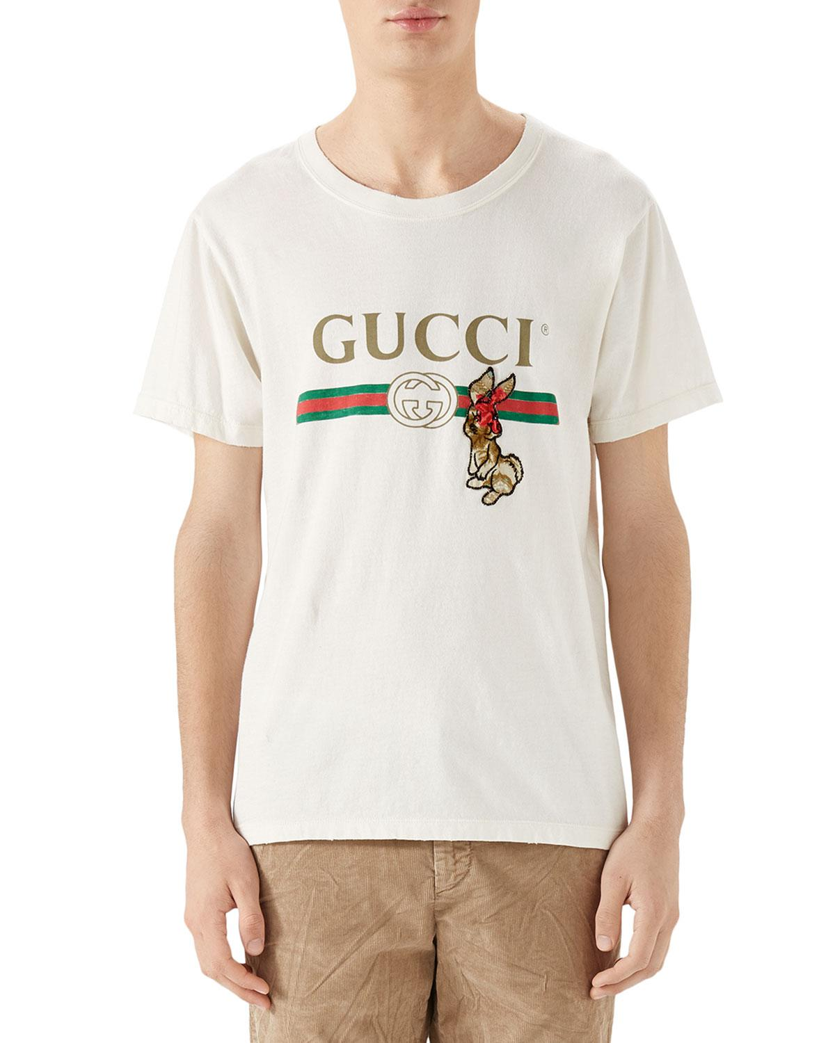 5767e10c Gucci Men's Rabbit Logo-graphic T-shirt in White for Men - Lyst