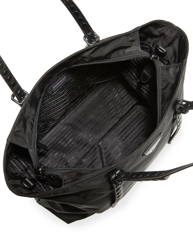 90800c94ab07 Lyst - Prada Black Nylon Shopper With Studding in Black