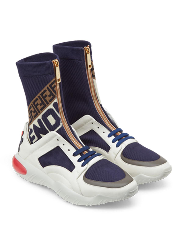Navy Mania Sock Sneakers in Dark Blue