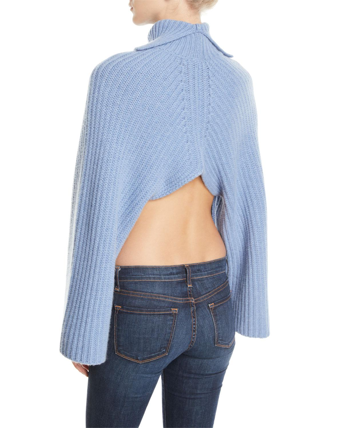 2e0582b9a61070 Lyst - Rosetta Getty Cropped-back Turtleneck Cashmere-wool Sweater in Blue