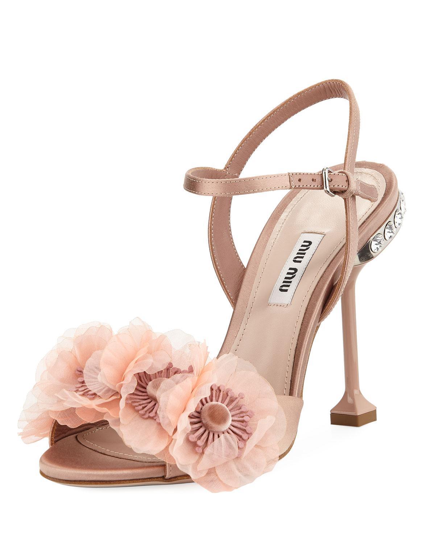 0ff9e36bbb27 Lyst - Miu Miu Flower-embellished Ankle-strap Sandal