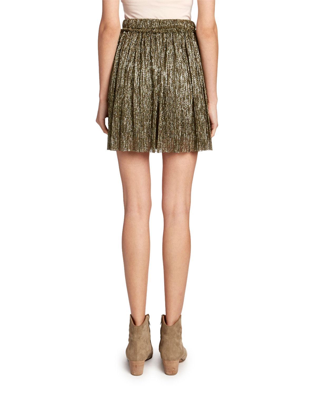 Beatrice Short: Étoile Isabel Marant Beatrice Pleated Metallic Short Skirt