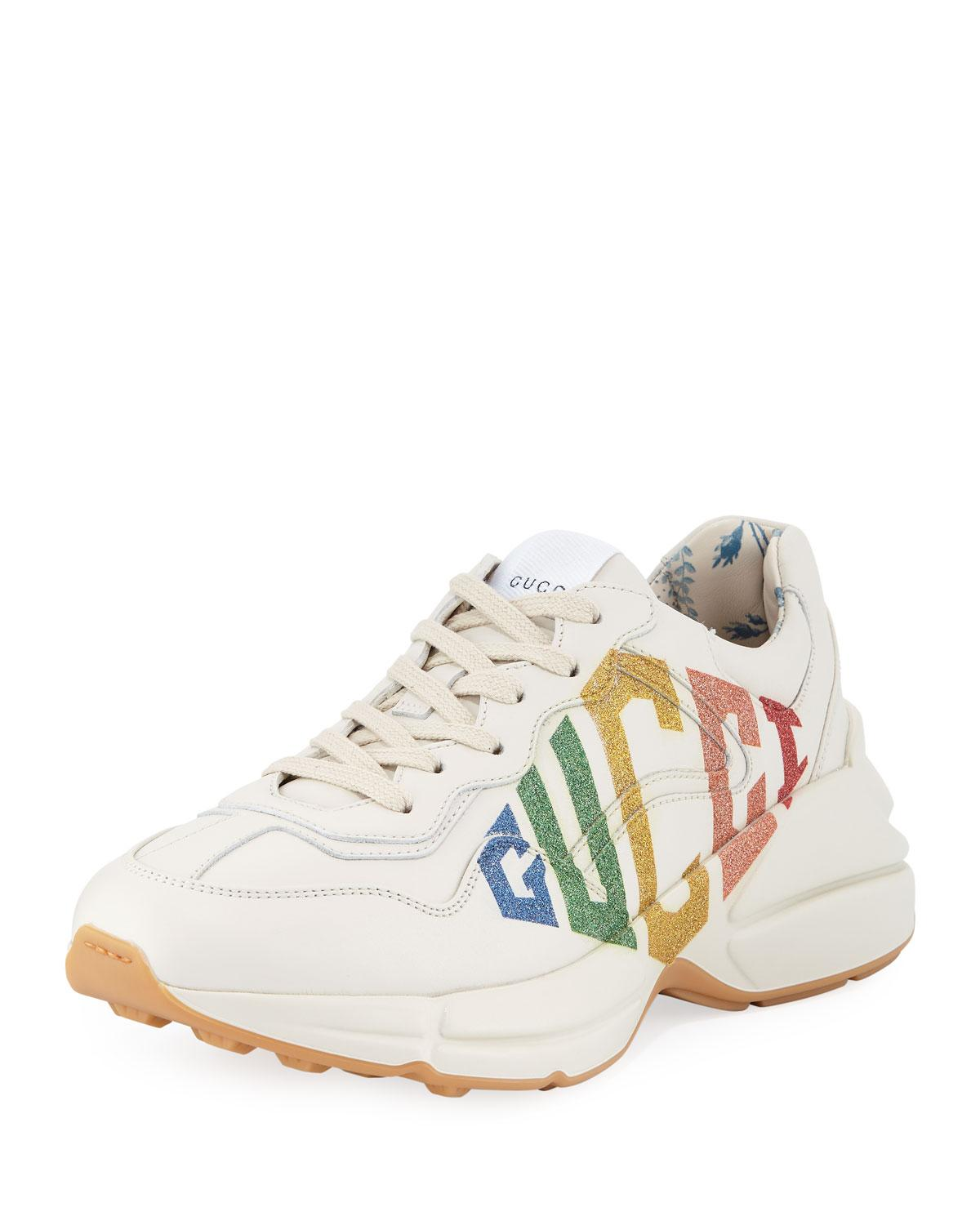 9b7f176951f Women's White Rhyton Rainbow Leather Trainer
