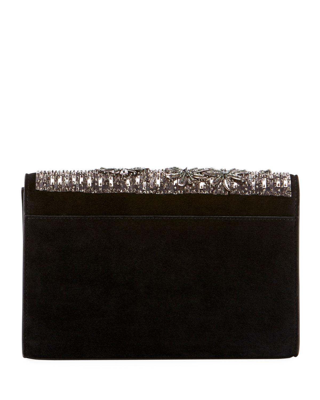 5bf3a2997ff Lyst - Saint Laurent Kate Small Ysl Monogram Tassel Crossbody Bag With  Beaded Flowers in Black