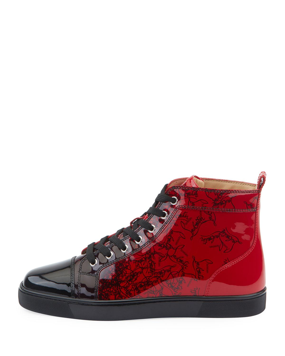 b09287ae7116e Lyst - Christian Louboutin Men s Louis Ombre Patent Leather High-top  Sneakers in Black