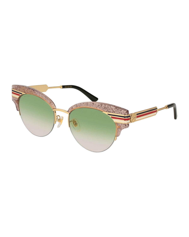 Square Frame Sylvie Stripe Tortoiseshell Sunglasses Gucci eCPmEbf