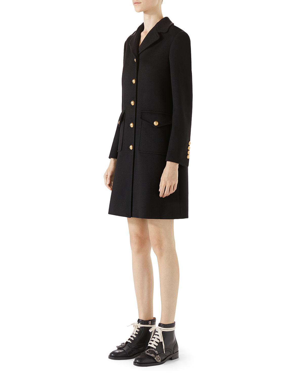 ccd9fd69bf8 Lyst - Gucci Wool Coat With Double G in Black - Save 4%