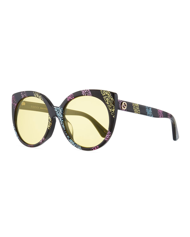 05ef2d5e16f Gucci. Women s Glitter Striped Cat-eye Sunglasses