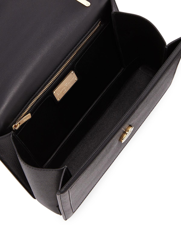 3e6777aeeb2a73 Lyst - Ferragamo Ginny Medium Vara Crossbody Bag in Black - Save 7%