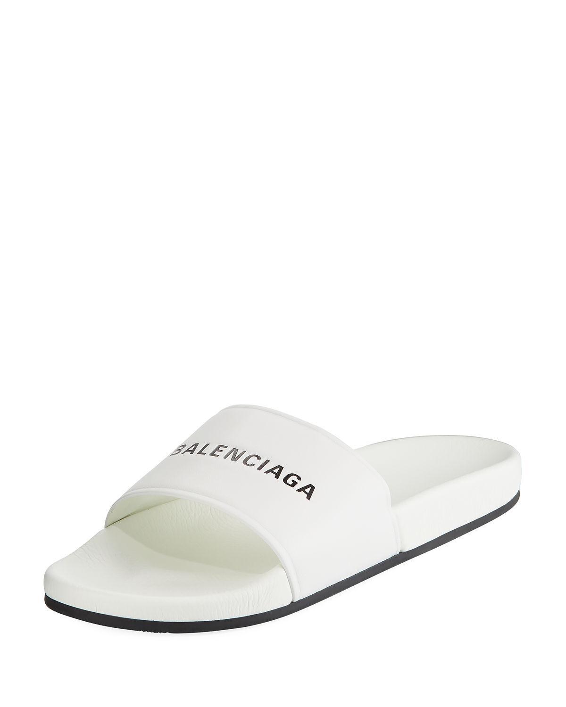 9a3a37cb2c5 Lyst - Balenciaga Men s Logo Pool Slide in White for Men - Save 72%