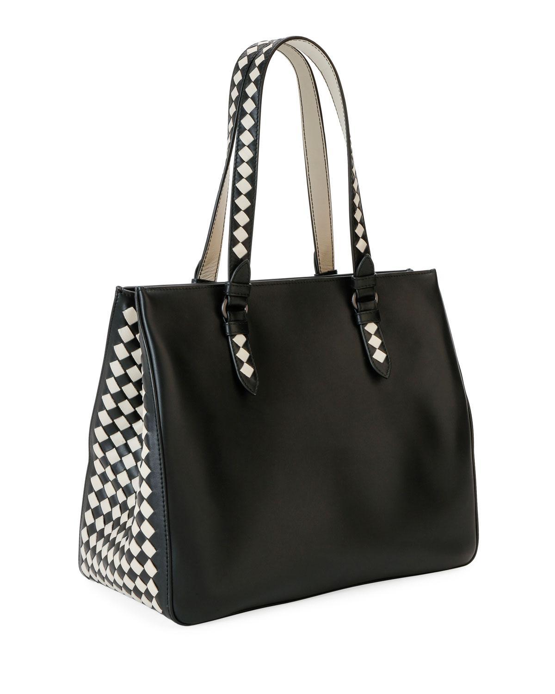 5fad5ca210 Lyst - Bottega Veneta Calf Leather Gusset Tote Bag in Black