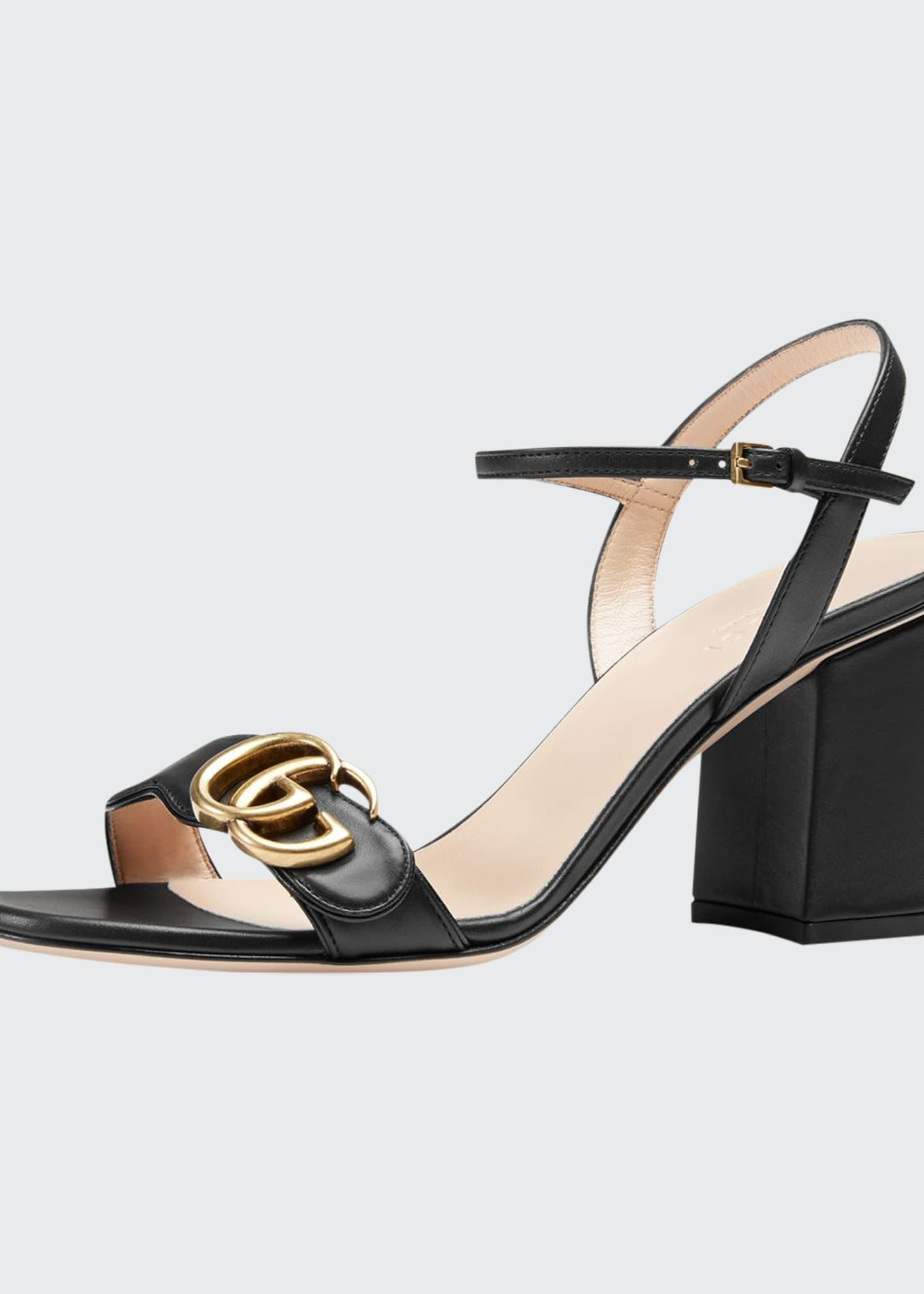 Gucci Marmont Leather GG Block-heel