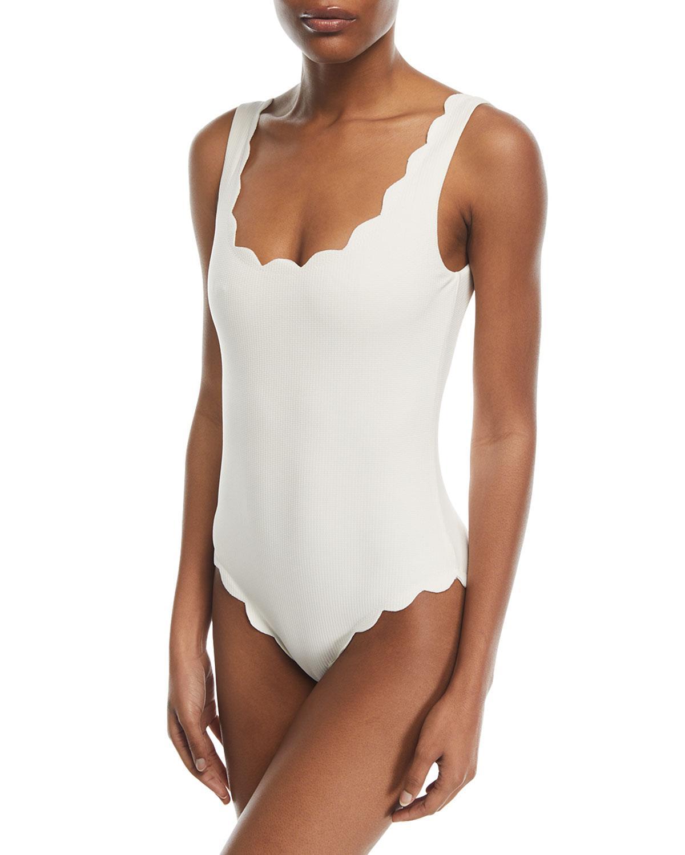 ff34b8645daf Marysia Swim. Women s White Palm Springs Scalloped One-piece Swimsuit