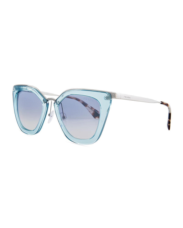 15d272d18cca Lyst - Prada Monochromatic Metal-trim Geometric Cat-eye Sunglasses ...