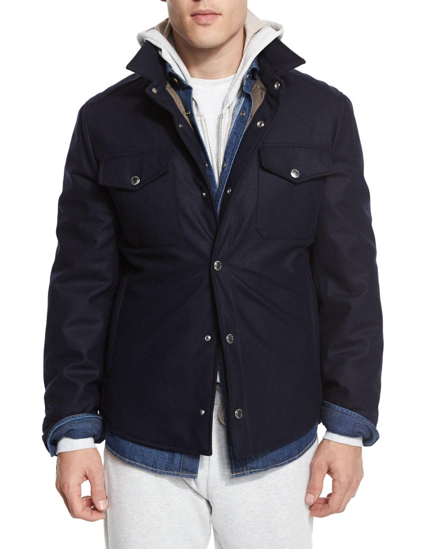 Lyst brunello cucinelli flannel wool blend shirt jacket for Mens wool flannel shirt