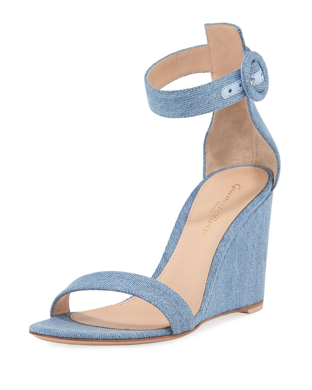 3acc7ce52d4 Lyst - Gianvito Rossi Portofino Denim Wedge 85mm Sandals in Blue
