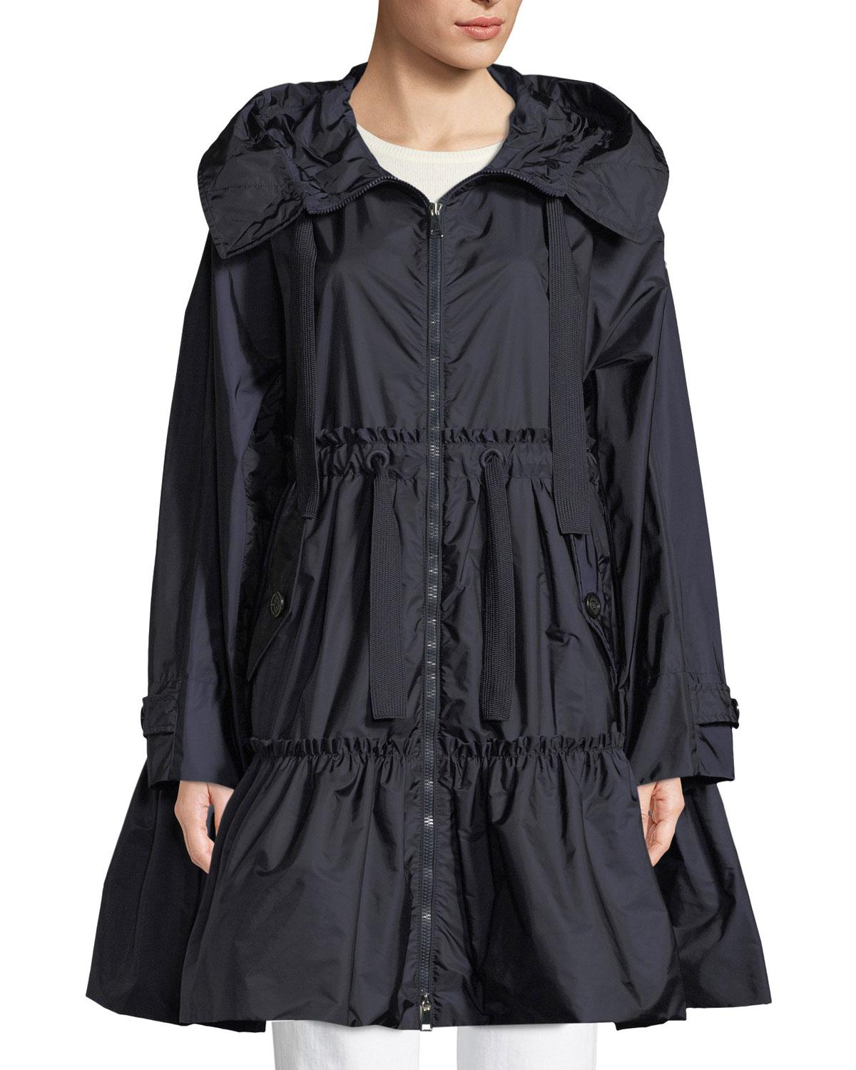 a30dd81406f ... new arrivals moncler dimitra down jacket lyst moncler long a line  frilly rain jacket in blue