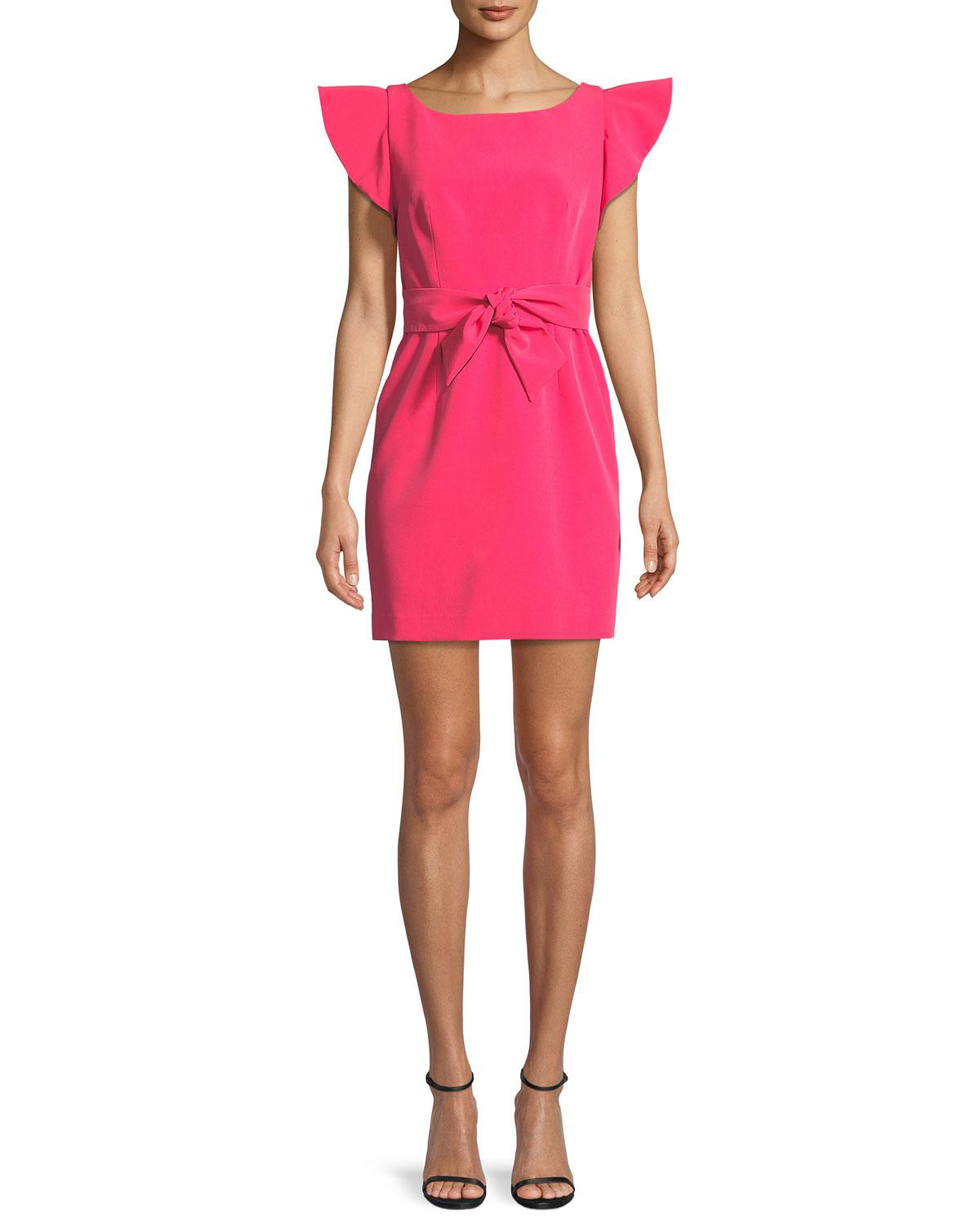 b19e1bccc1b Lyst - MILLY Italian Cady Ruffle-sleeve Bow Mini Dress in Pink