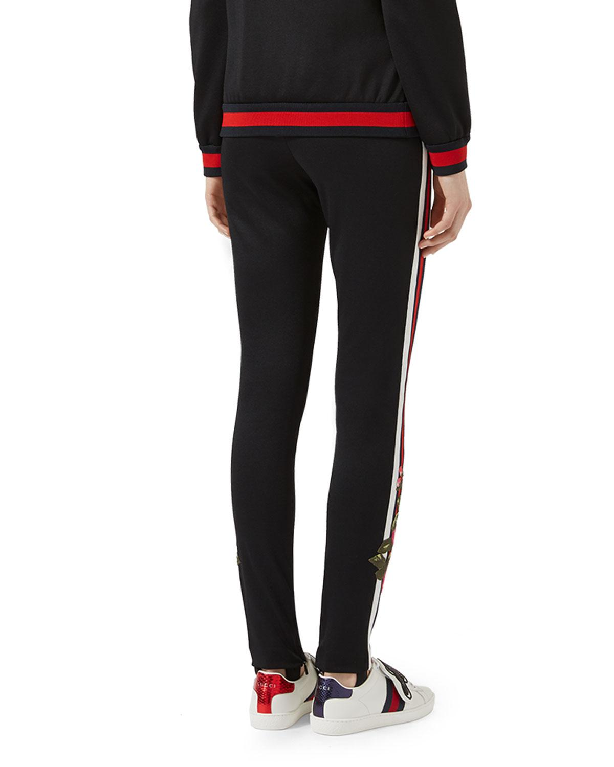 Gucci Embroidered Jersey Leggings in Black | Lyst