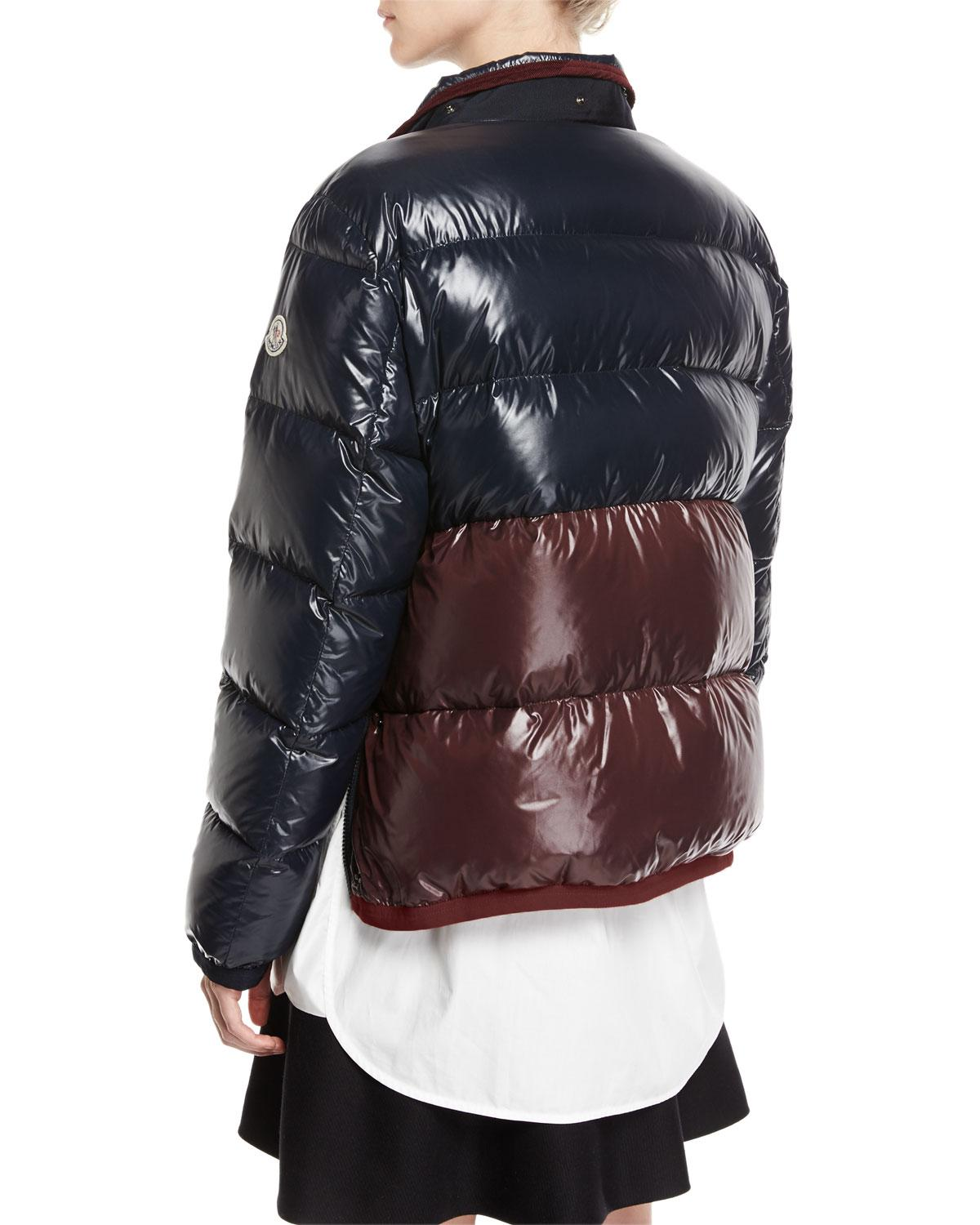 ce3e7e5c7fd Lyst - Moncler Continus Colorblocked Shiny Quilted Down Coat in Blue