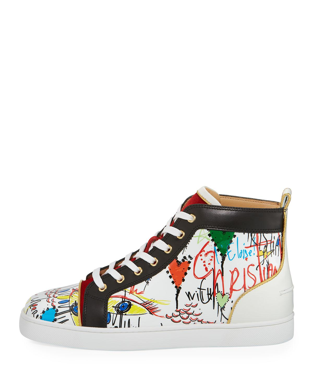 832e7150ef9 Christian Louboutin White Louis Loubi Tag Men's Lace-up Sneaker for men