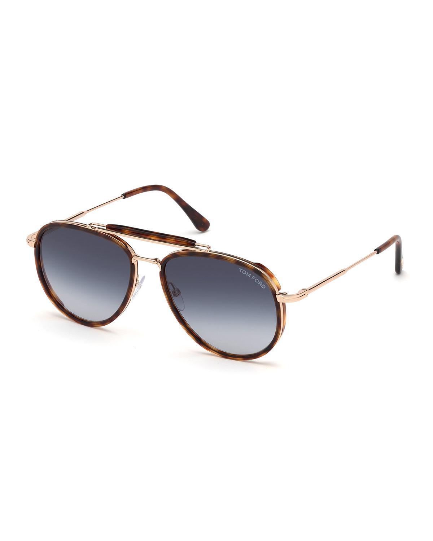 57133e78a16 Tom Ford - Brown Men s Tripp Tortoiseshell Aviator Sunglasses for Men - Lyst.  View fullscreen