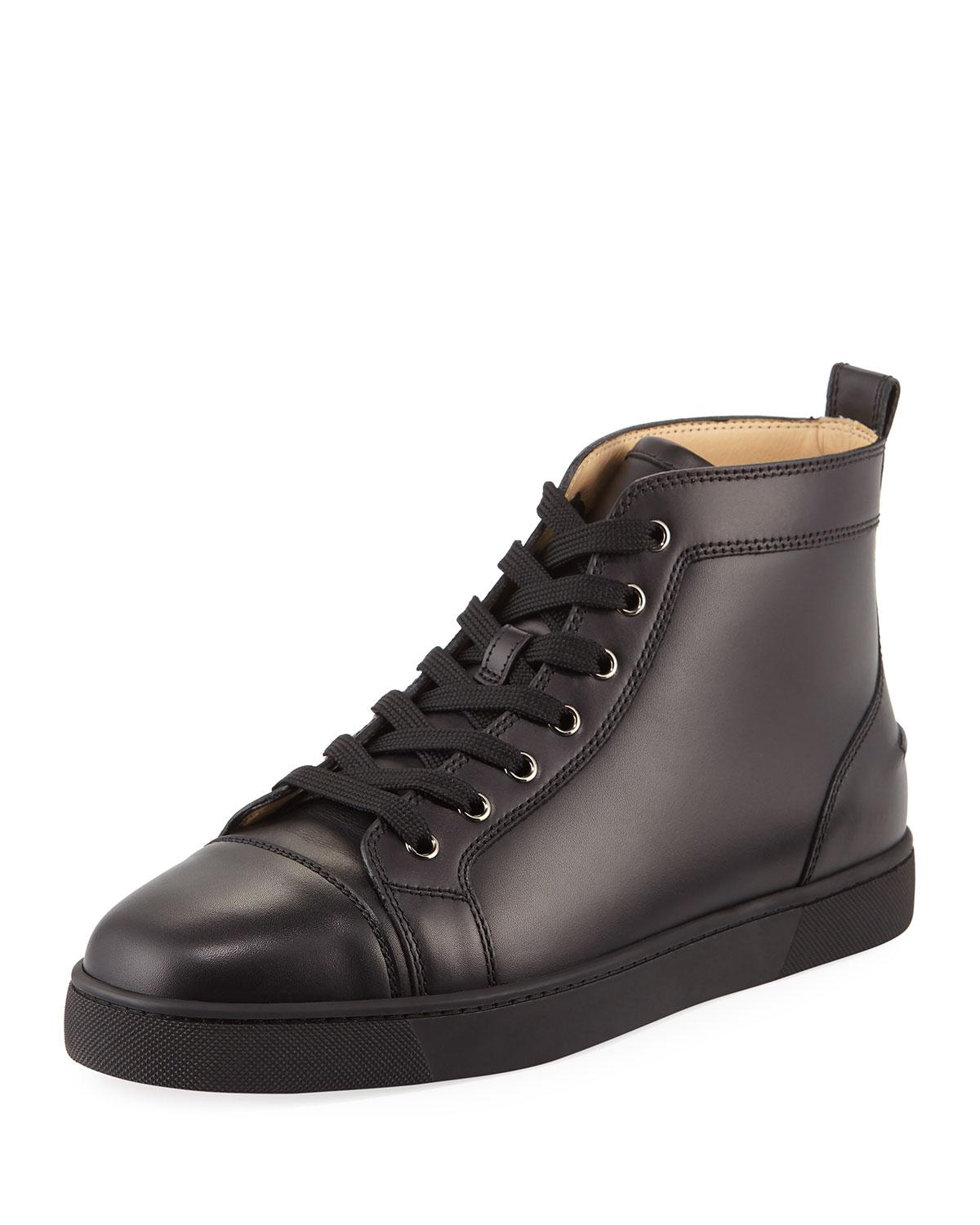 info for 421da 9ca9d Black Men's Louis Leather High-top Sneakers