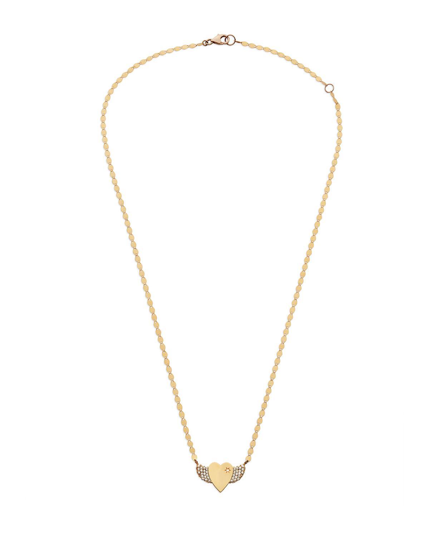 Lana Jewelry 14k Small Diamond Wing Heart Pendant Necklace Oua3b