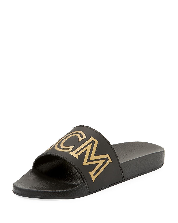 db8fc38e5d8d Lyst - MCM Men s Rubber Logo Slide Sandal in Black for Men