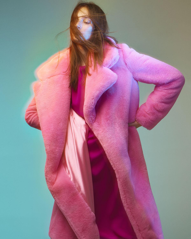 3f14bd642a33 MILLY - Pink Riley Long Faux-fur Coat - Lyst. View fullscreen