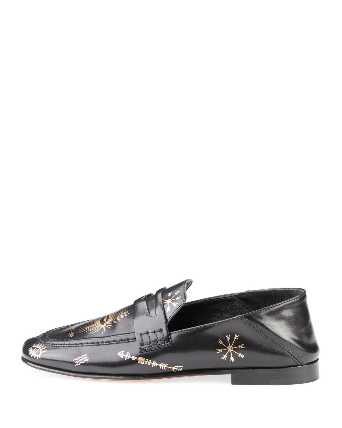 d70d81ad218 Lyst - Isabel Marant Fezzy Icon-print Leather Loafer Mule in Black