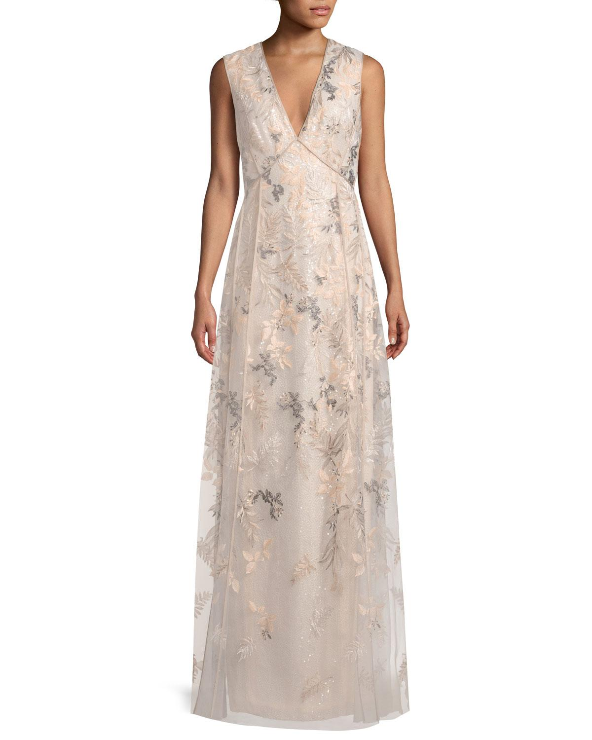 Lyst - J. Mendel Floral-embroidered Sleeveless Evening Gown in Pink