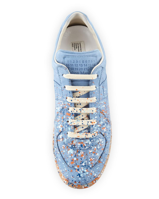 94a08127e04 Women's Blue Men's Replica Paint-splatter Suede Low-top Sneakers