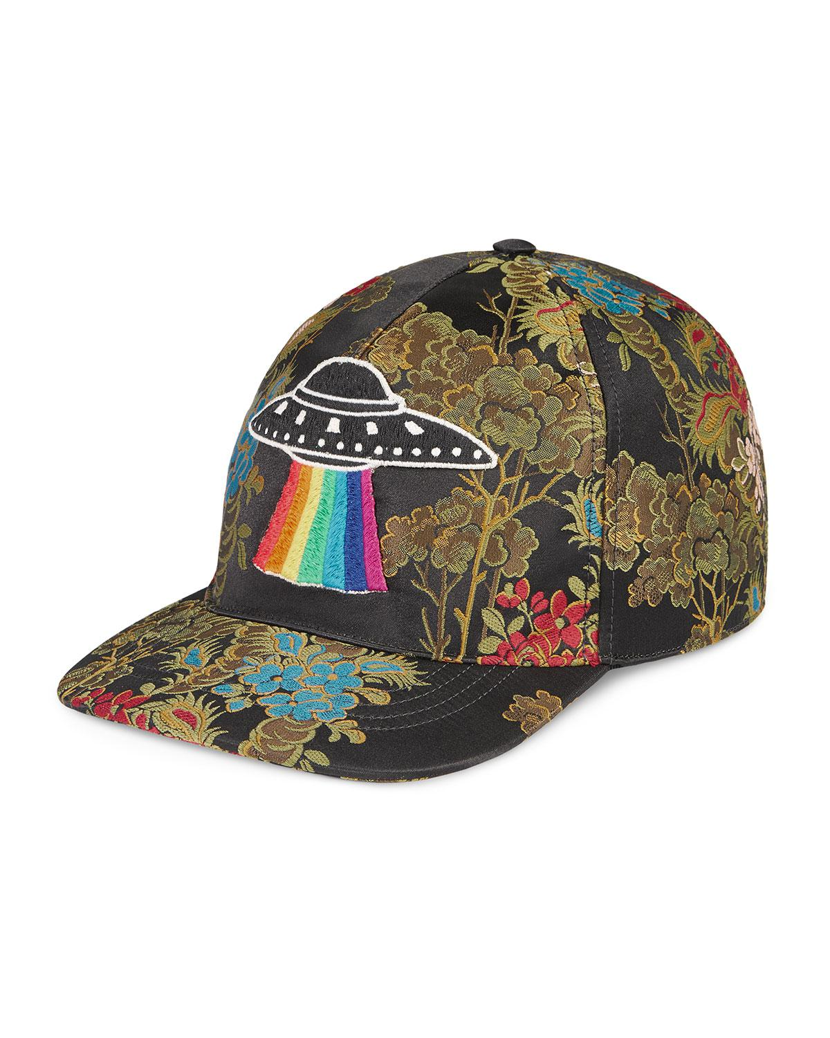 a64f72eb74e Lyst gucci floral baseball cap with ufo in green for men jpg 1200x1500  Gucci kangol bucket
