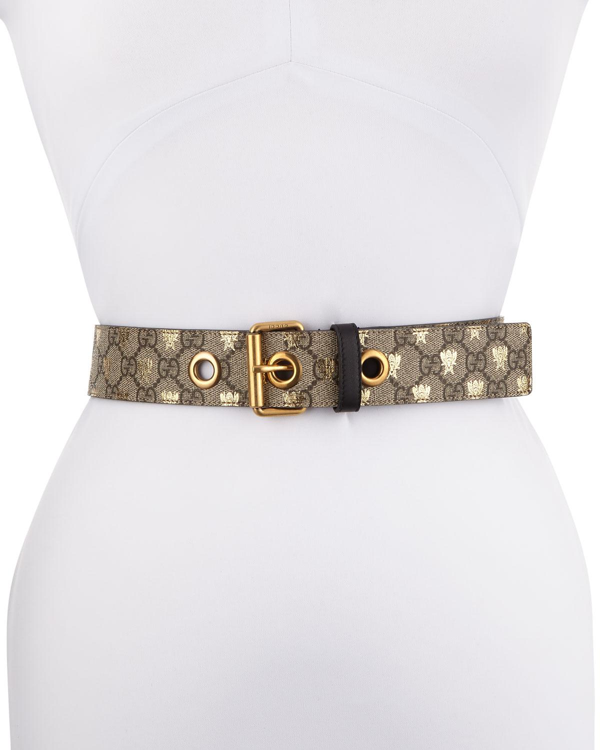 e657076a75f Lyst - Gucci Formal Squared GG Supreme Canvas Bee Belt in Natural