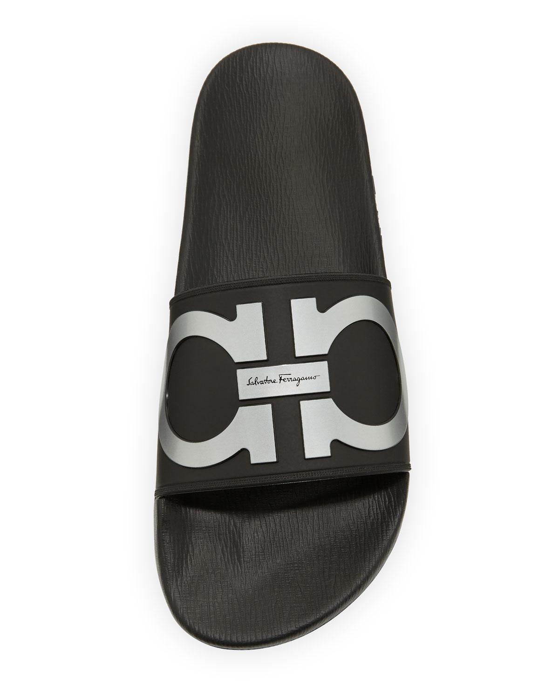 fe34bb3212235a Ferragamo Gancini Rubber Pool Slides in Black for Men - Save 9% - Lyst