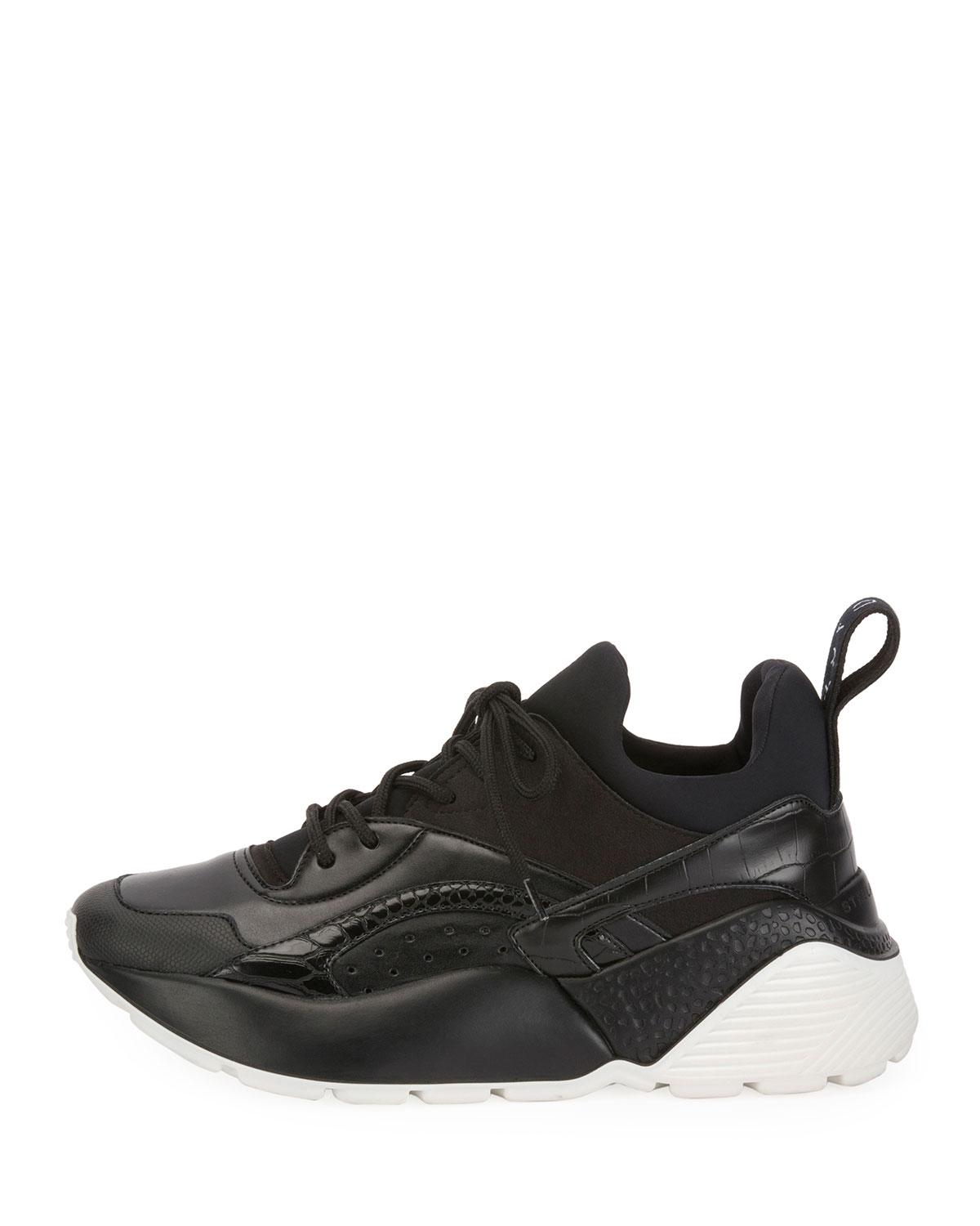 3d836e3b4 Lyst - Stella McCartney Textured Faux-leather Trainer Sneakers in Black