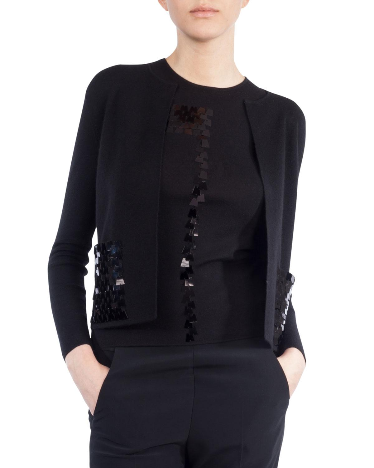 Akris Ai Sequin-embellished Cardigan in Black | Lyst