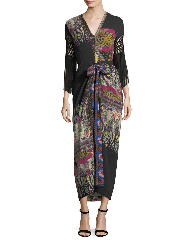 bab1a247c27 Lyst - Etro Fringe-sleeve V-neck Paisley Silk Midi Dress in Black