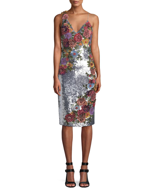 Lyst - Alice + Olivia Francie Sequin Cocktail Dress in Metallic ... 296ed970b