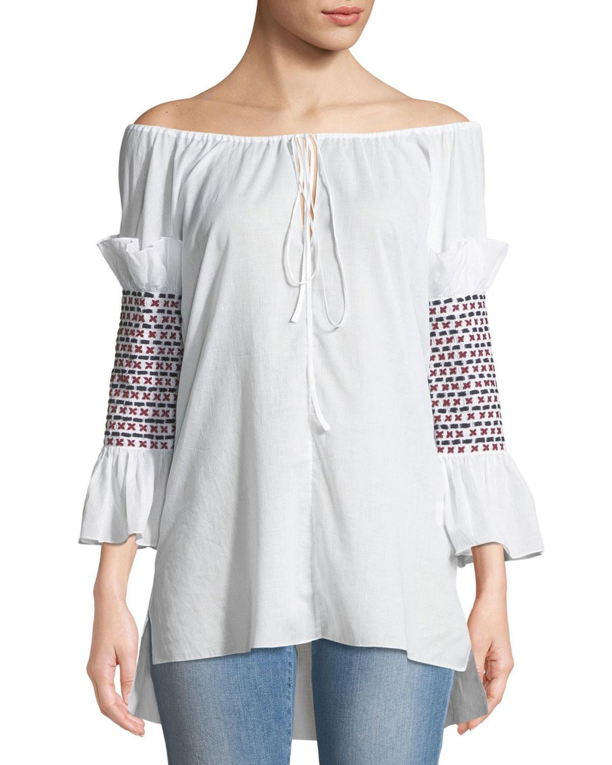 7cb18aad6265b Lyst - Rosie Assoulin Off-the-shoulder Smock-sleeve Cotton Voile Top ...