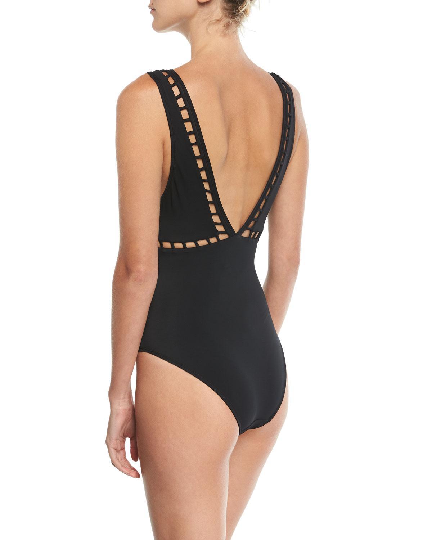 64dc769068e29 Lyst - OYE Swimwear Ela Plunging One-piece Swimsuit W  Lattice Detail in  Black